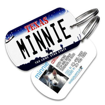 Texas License Plate Pet Tag - Personalized Pet ID Tags, Custom Dog Tags, Cat ID Tag, Dog Name Tags, Dog Tags for Dogs, Dog ID Tags