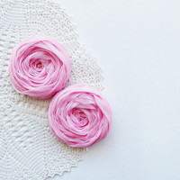 Pink Fabric Roses Handmade Appliques Embellishment Set of 2