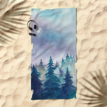 Into The Forest Beach Towel by Marco Gonzalez