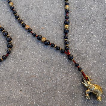 Abundance, Elephant Beaded Necklace, Ebony, African Trade Beads