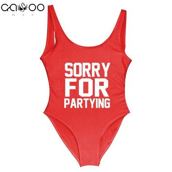 SORRY FOR PARTYING Swimwear Women One Piece Swimsuit Female Swimsuits of Large Sizes Sexy Women's Swimwear Swimming Suit Girls'