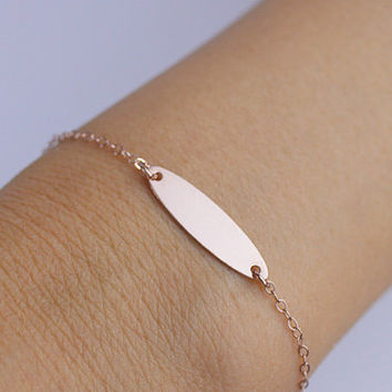 rose gold bracelet. rose gold  ID Blank personalized  bracelet. friendship, love couple Jewelry. Custom Letters.His and Her Initials