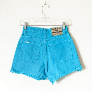 Vintage High Waisted Shorts / Cut Off Shorts Denim Shorts Festival Shorts Jean Shorts 90s Shorts 80s Shorts Grunge Preppy Teal Blue Denim