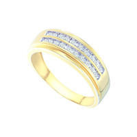 10kt Yellow Gold Mens Round Diamond 2-row Wedding Anniversary Band Ring 1/4 Cttw 58545