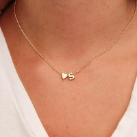 Love Heart Choker 26 letters Long Sweater Chain Necklaces tiny love heart Pendants for Women collier lovers gift choker necklace pendant