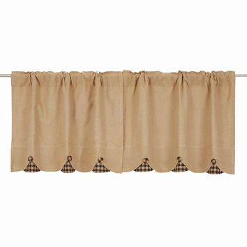 Burlap with Navy Check Tier Curtains 24""