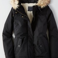 AEO Women's Short Parka (True Black)