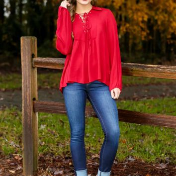 Here's The Stitch Blouse-Ruby Red