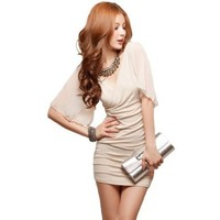 LOCOMO Deep V Short See Through Sleeve Simple Design Mini Dress FFD003 S-M