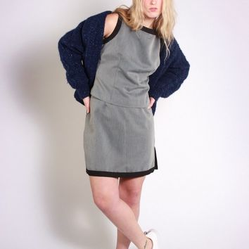 Grey Herringbone Mini Skirt Suit / M