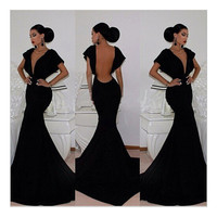 Sexy Women V-Neck Backless Long Mermaild Dress Prom Gown Bodycon Ball Party Evening Formal Maxi Long Dress