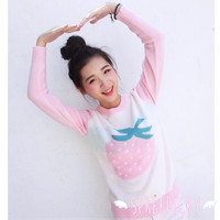 Super Kawaii Pink Stawberry Long Sleeve Knitting Sweater Jumper Top SP141524 from SpreePicky