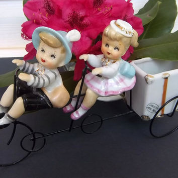 VERY RARE Newlyweds Couple Planter - Young Man and Woman Riding a Tandem Bicycle Figurine - 22K Gold Gilt Accents - Metal Bike Sculpture
