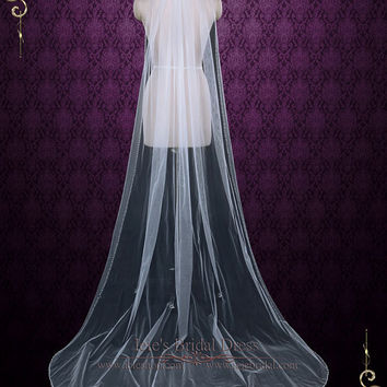 One Layer Chapel Veil with Pearls and Crystals, Long Wedding Veil, Beaded Veil, Crystal Veil   VG1074