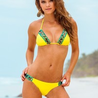 Sauvage Canary Yellow Hand Beaded Bikini Set