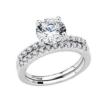 Grace In Love - Women's Rhodium Plated Brass Clear CZ Ring Set