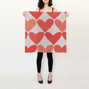 Square Silk Scarf - Heart Pattern