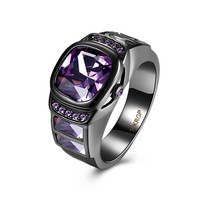 black men wedding Rings drop shipping good quality fashion jewelry new year gift PURPLE Zirconia CZ fine party 2017 Promise Ring
