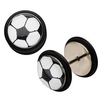 2pcs SOCCER Fake Plug Steel Earrings Faux Cheater Gauges (0g Look)