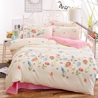 Vivid Flower Print Floral Bedding Set Pastoral Style Bed Linens Plaid Duvet Cover Set Flat Sheet 2 Pillowcases 4pcs/set