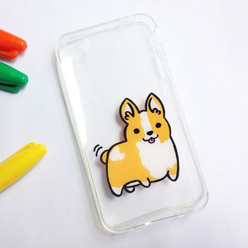 Hand painted corgi phone cases -iPhone 6 case clear-iPhone 6 case-iPhone 6s case-iPhone 5s case- Samsung Galaxy S6 Case-Sony Xperia Z3 Case