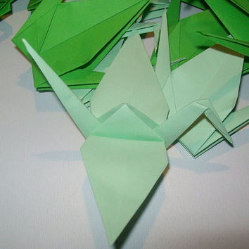 Origami Paper Wedding Crane green tone, Set of 1000  Wedding Crane, Origami Crane, Green Crane, Wedding Decoration Crane, Origami wedding