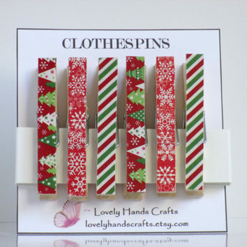 Decorative Wooden Christmas Clothespins - Set of 6