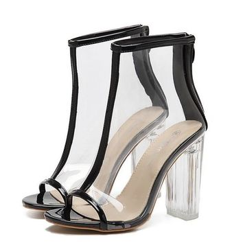 PVC Clear Heel Transparent Boots Peep Toe Ankle black Boots