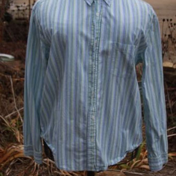 Men's Aeropostale Long Sleeve Button Up Blue Green Cotton Shirt Size Large