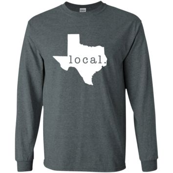 Local Texas Long Sleeved T Shirt for Texan Outline State Pride - Great Gift and Design For Men or Women T-Shirt or Tee