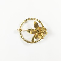 Floral Gold Tone Circle Pin Vintage 1960s Style Small Dainty Simulated Pearl Rose Brooch Open Work Design Three Leaves Lapel Pin Gift
