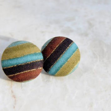 Fabric Earrings, Boho Earrings, Boho Stripe Earrings, Boho Studs, Fabric Studs, Striped Fabric Earrings, Earthy Fabric Studs