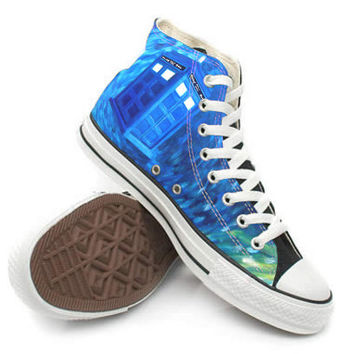 Doctor Who Weeping Angel Tardis Shoes,High Top,canvas shoes,Painted Shoes,Special Christmas Gift,Birthday gift,Men Shoes,Women Shoes