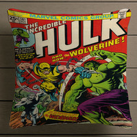 The Incredible HUlk Wolverine Comic Cover Square Pillow Case Custom Zippered Pillow Case one side and two side