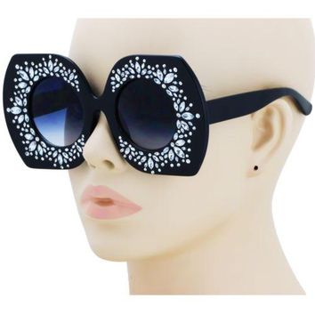 HOT Crystal Bling Sunglasses Rhinestone Round Polygon Women Fashion Shades 2018