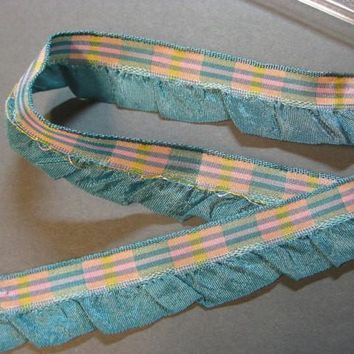 Vintage French blue plaid ribbon ruffle aqua fabric ribbon France 40s  3/4 in teal