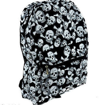"Goth Punk Skulls & Crossbones Large 16"" Backpack with compartments-New w/Tags!!"