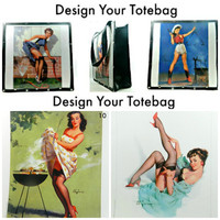 Pin-up Totebag  Book Bag Design Your Tote Purse Carry-On tote Storage Computer bag Pin-up art
