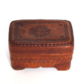 Vintage Leather Jewelry Box, Ornament wood box, Trinket Box, Hand Tooled Handmade Box hand carved box Bohemian decor Polish box 70s Folk box