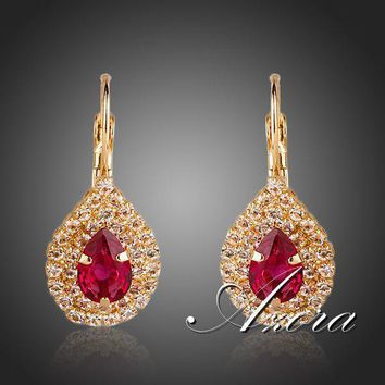 AZORA Noble 18K Gold Plated Blood Red Cubic Zirconia Tear Drop Earrings TE0151