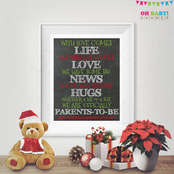 Christmas Baby Announcement Chalkboard Sign Christmas Pregnancy Announcement Chalkboard Sign Christmas Baby Reveal 8x10 Digital Editable