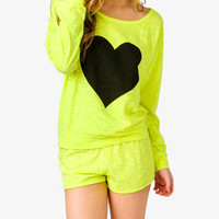 Slub Knit Heart PJ Set