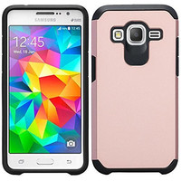Galaxy Luna Case, Galaxy Express 3 Case, Galaxy Amp 2 Case, J1 2016 Hybrid Dual Layer[Shock Absorbant] Case Cover for Samsung Galaxy Luna/Express 3/Amp 2/J1 (2016) - Rose Gold