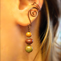 Ear Cuffs, Beautiful Alternative Earrings Antique Brass with Genuine Red Creek Jasper Beads, non pierced