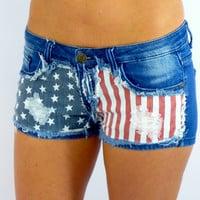 Distressed Flag Shorts