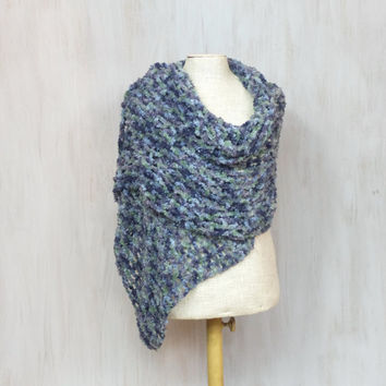 Chunky acrylic shawl, crochet soft woolen scarf, blue green purple yarn, oversize neck warmer, openwork soft, thick wool, fishnet wrap, OOAK