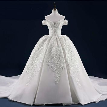 Full Beading Lace Bridal Gowns With Long Train Sequin Beads Pearls Wedding Dresses