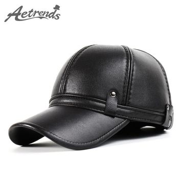 [AETRENDS] 2016 New Winter Leather Baseball Cap Men Polo Hat with Ears Warm Outdoor Ha