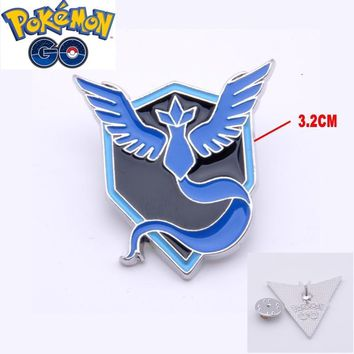 Mew  GO Team Mystic Badges Metal Pins with wooden Box Cosplay Collection Box Gift For Kids AdultKawaii Pokemon go  AT_89_9