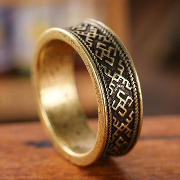 Oberezhnoe Ring Men Fern Flower Knot Ring Viking Slavic Anel Jewelry Drop Shipping